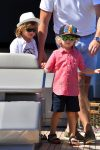 Elton John, David Furnish's sons Elijah Furnish-John, Zachary Furnish-John in St