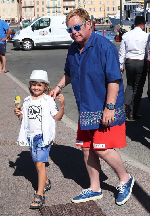 Elton John with son Zachary Furnish-John in St. Tropez
