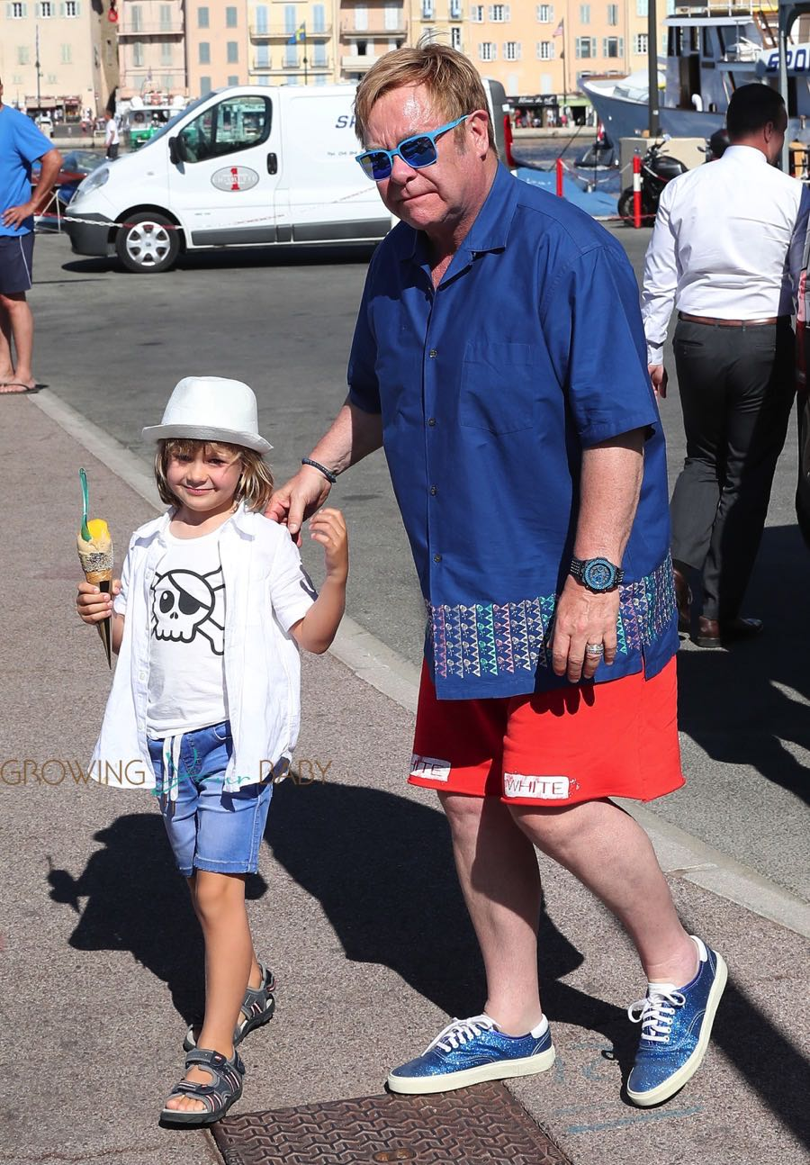 Elton John With Son Zachary Furnish John In St Tropez
