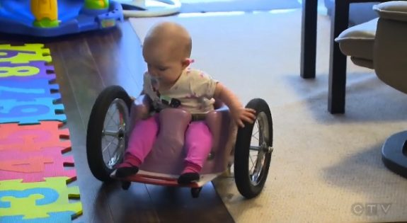 Evelyn Moore with her custom wheelchair