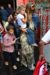 Gisele Bundchen leaves a restaurant at the Jardim Botanical Gardens with her kids Vivian and Benjamin Brady