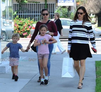 Jennifer Garner out in Santa Monica with kids Seraphina and Sam Affleck