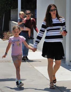 Jennifer Garner out in Santa Monica with kids Seraphina and Sam Affleck