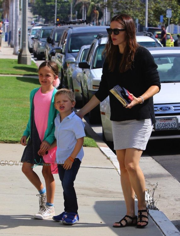 Jennifer Garner with kids Sam and Seraphina at church