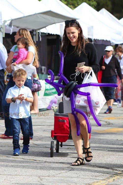 Jennifer Garner with son Sam Affleck at the market