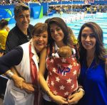 Nicole Michele Johnson and Deborah Phelps with baby Boomer at the Olympics