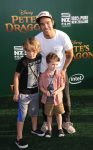 Pete Wentz with son Bronx at Pete's Dragon Premiere in Hollywood