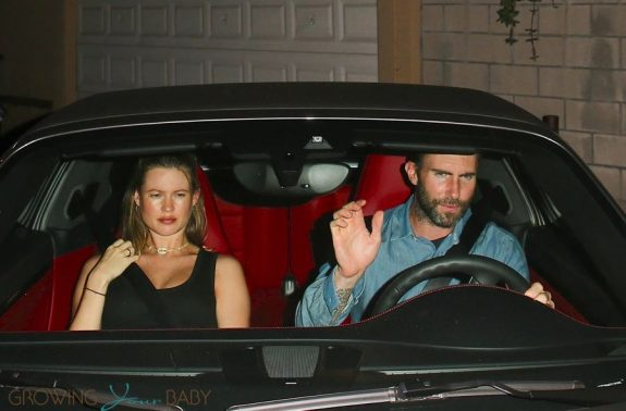 Pregnant Behati Prinsloo exits after dinner at Craig's with Adam Levine
