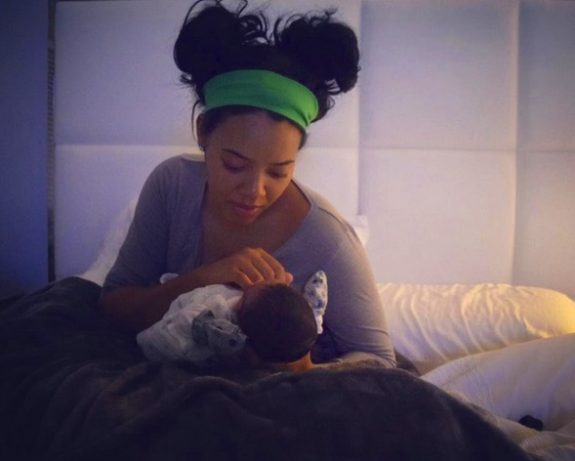 Angela Simmons with her new son