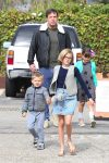 Ben Affleck arrives at church with kids Violet, Seraphina and Sam