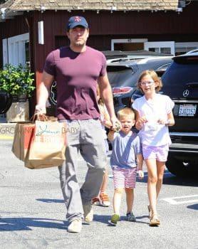 Ben Affleck arrives at the market with his kids Violet and Sam