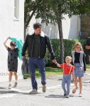 Ben Affleck leaves church with Sam, Seraphina and Violet