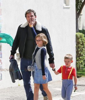 Ben Affleck leaves church with Sam and Violet