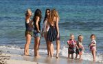 Elsa Pataky at the beach with her kids Tristan, Sasha and India Hemsworth
