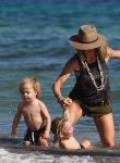 Elsa Pataky at the beach in Spain with her twins Tristan and Sasha
