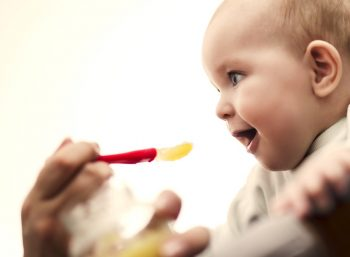 Young baby eating