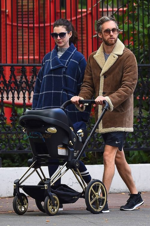 Anne Hathaway and Adam Shulman out with their son in Manhattan