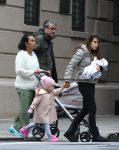 Hilaria Baldwin out in NYC with daughter Carmen and son Leo Baldwin