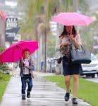 Jennifer Garner and son Sam Affleck leaving church