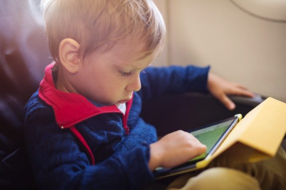 Little boy using tablet