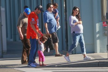 Ashton Kutcher and a very pregnant Mila Kunis Out And About In Beverly Hills