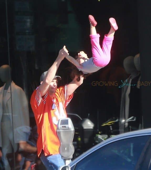 Ashton Kutcher flips daughter Wyatt while out for breakfast in LA