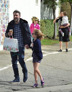 Ben Affleck leaves church with his daughter Seraphina and Violet Affleck
