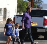 Ben Affleck arrives at church with Seraphina and Sam