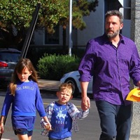 Ben Affleck Takes His Kids To Sunday Service