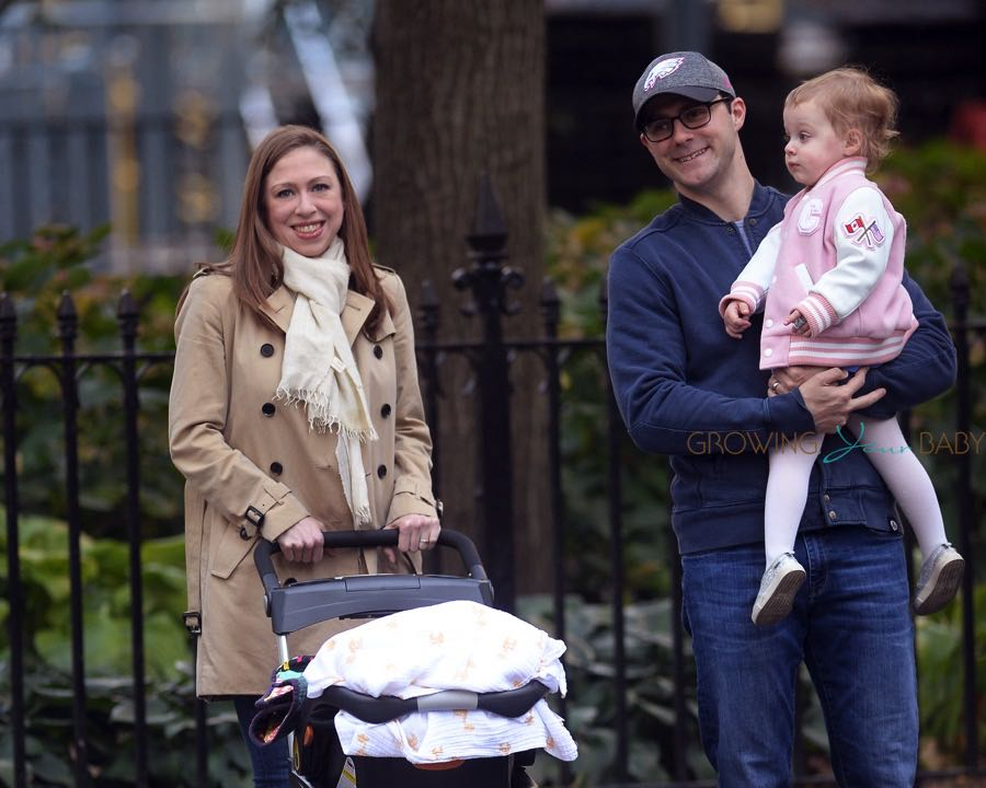Chelsea Clinton and her husband Marc Mazvinsky with their daughter Charlotte