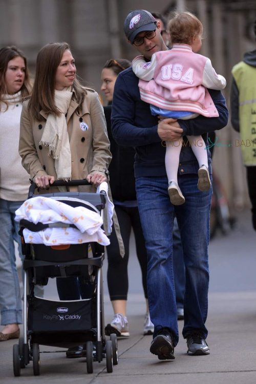 Chelsea Clinton, Marc Mezvinsky and daughter Charlotte Clinton Mezvinsky step out in New York City after voting