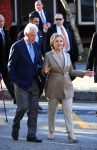 Democratic presidential candidate Hillary Clinton and her husband, former U.S. President Bill Clinton leave after casting their ballots at a polling station