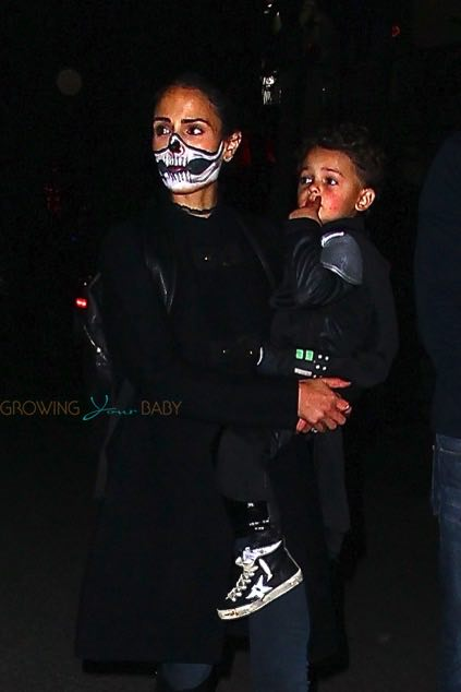 Jordana Brewster out with son Julian Form for Halloween