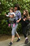 Milla Jovovich takes a Saturday afternoon stroll with her husband Paul W. S. Anderson and their two children Ever and Dashiel
