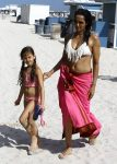 Padma Lakshmi & Her Daughter Krishna Dell Enjoy A Beach Day In Miami
