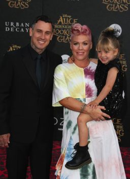 Pink, Carey Hart and daughter Willow at premiere of Alice Through The Looking Glass