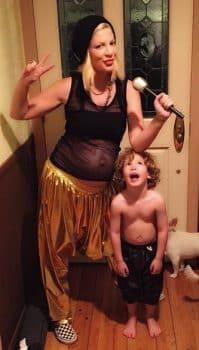 Pregnant Tori Spelling dressed for Halloween with son Finn