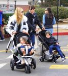 Rachel Zoe and Rodger Berman at the farmer's market with their kids Skyler and Kai