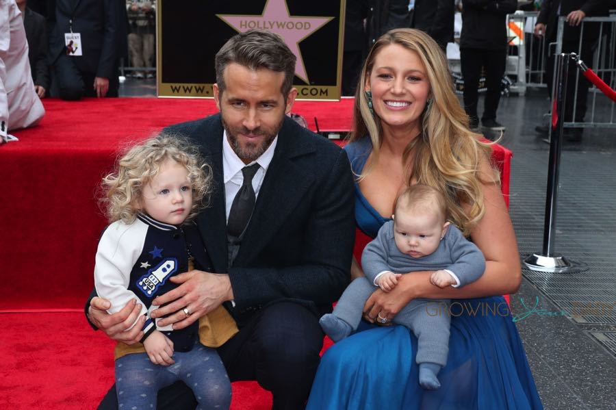 Blake Lively and Ryan Reynolds pose with their daughter James and newborn