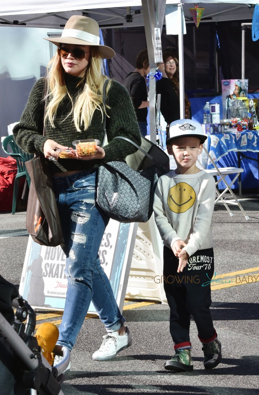 Hilary Duff takes her son to the market in LA
