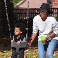 Kelly Rowland Plays At The Park With Her Son