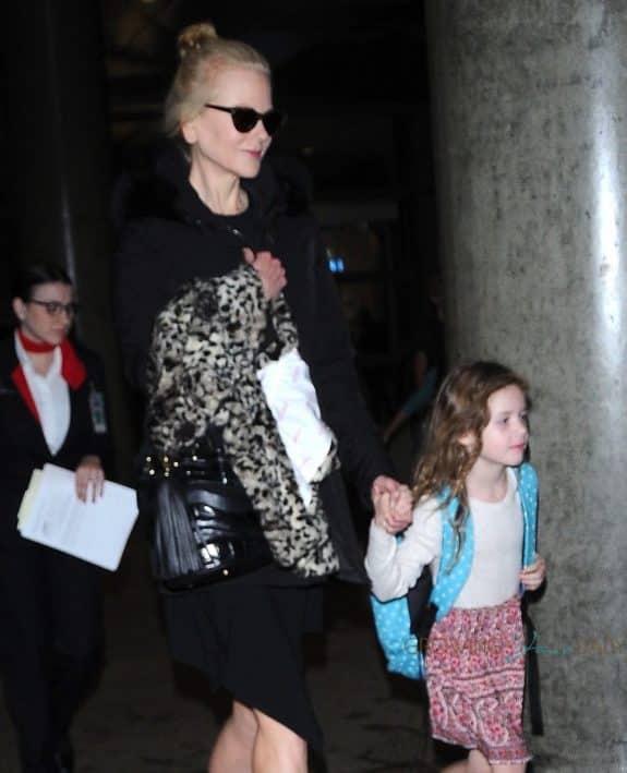 Nicole Kidman & daughter Faith Urban Touch Down At LAX