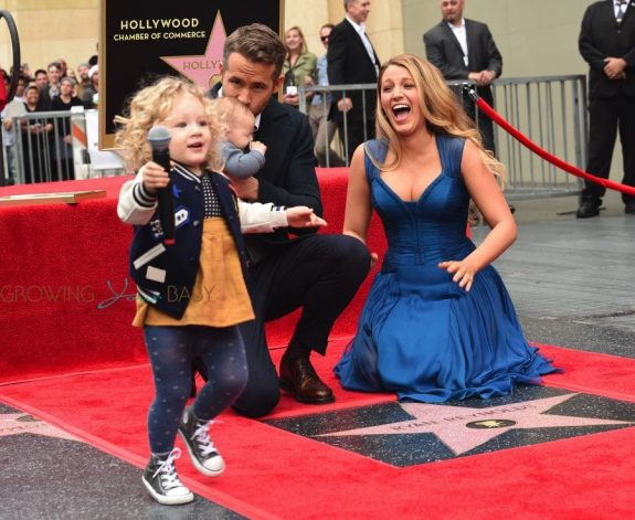 Ryan Reynolds and Blake Lively at Hollywood walk of fame ceremony with daughters James and newborn