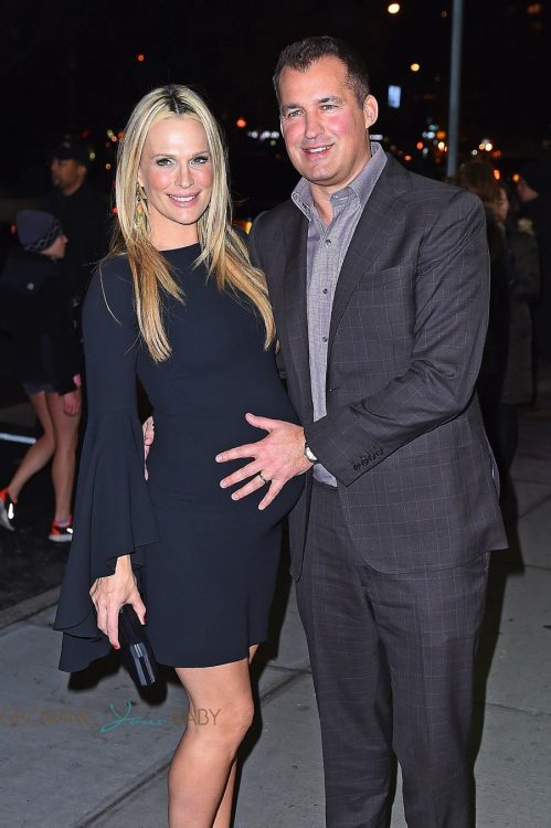 "Very pregnant Molly Sims and Scott Stuber at the screening of ""Office Christmas Party"""
