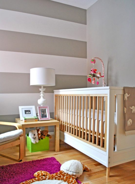 nursery feature striped wall