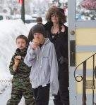 Actress Angelina Jolie is spotted out getting ice cream with her kids Shiloh and Knox in Crested Butte, Colorado