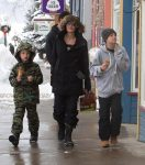 Actress Angelina Jolie is spotted out getting ice cream with her kids Shiloh and Knox in Crested Butte Colorado