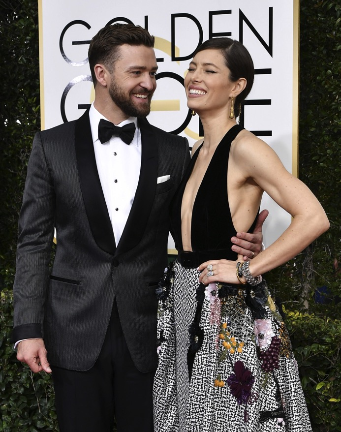 Jessica Biel and Justin Timberlake at the 74th Annual Golden Globe Awards
