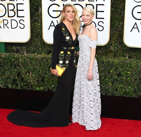 Michelle Williams and Busy Phillips at the 74th Annual Golden Globe Awards