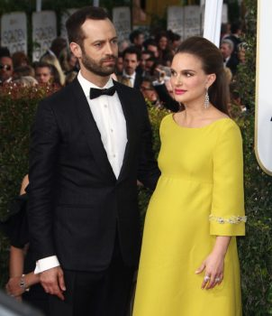 Pregnant Natalie Portman and Benjamin Millepied at the 74th Annual Golden Globe Awards
